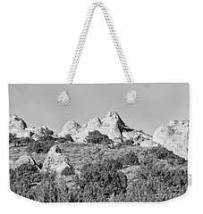White Pocket In Black And White Weekender Tote Bag by Anne Rodkin
