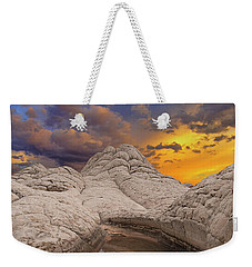 White Pocket Sunset Weekender Tote Bag