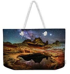 White Pockets Milky Way Weekender Tote Bag