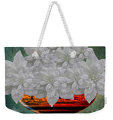 White Poinsettias In A Bowl Weekender Tote Bag by Saundra Myles