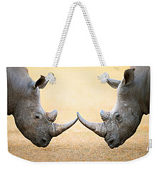 White Rhinoceros  Head To Head Weekender Tote Bag by Johan Swanepoel