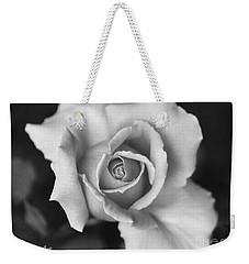 White Rose Against Black Weekender Tote Bag