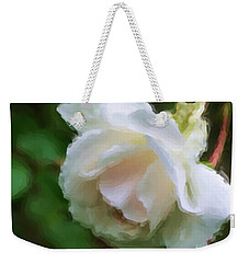 Weekender Tote Bag featuring the painting White Rose In Paint by Smilin Eyes  Treasures