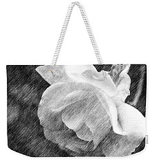 Weekender Tote Bag featuring the drawing White Rose In Pencil by Smilin Eyes  Treasures