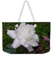 White Rose In Rain Weekender Tote Bag