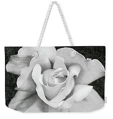 Weekender Tote Bag featuring the photograph White Rose Macro Black And White by Jennie Marie Schell