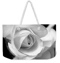 White Rose Petals Black And White Weekender Tote Bag by Jennie Marie Schell