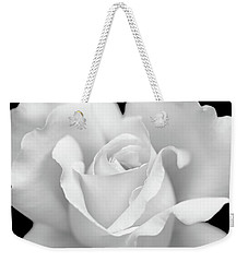 Weekender Tote Bag featuring the photograph White Rose Purity by Jennie Marie Schell
