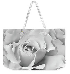 Weekender Tote Bag featuring the photograph White Rose Ruffles Monochrome by Jennie Marie Schell