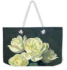 Four White Roses In Trumpet Vase Weekender Tote Bag
