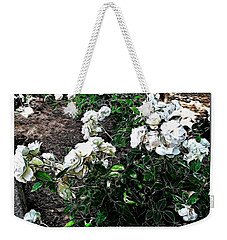 Weekender Tote Bag featuring the photograph White Roses by Joan  Minchak