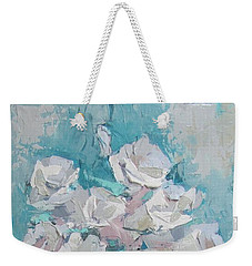 White Roses Palette Knife Acrylic Painting Weekender Tote Bag
