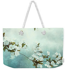Weekender Tote Bag featuring the mixed media White Sakura Blossoms by Shanina Conway