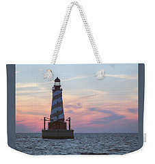 White Shoal Lighthouse At Sunset Weekender Tote Bag