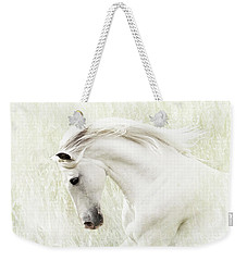 Weekender Tote Bag featuring the digital art White Stallion by Melinda Hughes-Berland