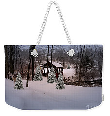 White Tailed Buck At Belmont N H Covered Bridge Weekender Tote Bag by Mim White