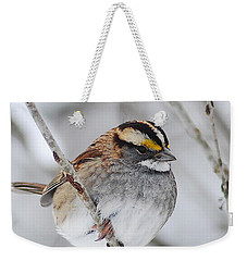 White Throated Sparrow Weekender Tote Bag by Michael Peychich