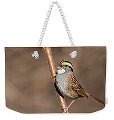 Weekender Tote Bag featuring the photograph White-throated Sparrow by Mircea Costina Photography