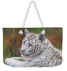 Weekender Tote Bag featuring the painting White Tiger Cub 2 by David Stribbling