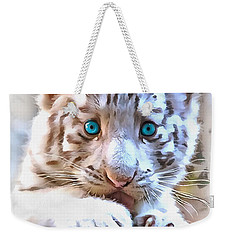 White Tiger Cub Weekender Tote Bag by Sergey Lukashin