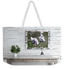 Weekender Tote Bag featuring the photograph White Timber Cottage By Kaye Menner by Kaye Menner