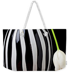 White Tulip In Striped Vase Weekender Tote Bag