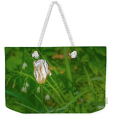 Weekender Tote Bag featuring the photograph White Tulip June 2016.  by Leif Sohlman