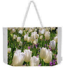 Weekender Tote Bag featuring the photograph White Tulips In Bloom by D Davila