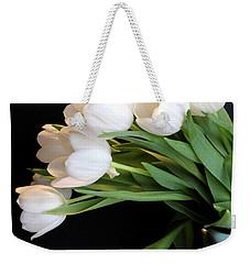 White Tulips In Blue Vase Weekender Tote Bag by Julia Wilcox