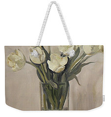 White Tulips In Rectangular Glass Vase Weekender Tote Bag