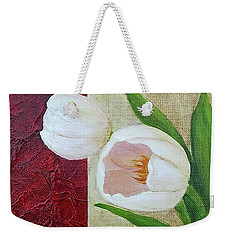 Weekender Tote Bag featuring the painting White Tulips by Phyllis Howard
