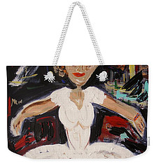 Weekender Tote Bag featuring the painting White Tutu by Mary Carol Williams