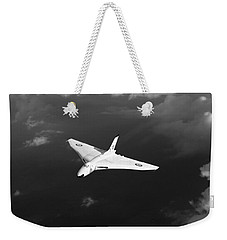 Weekender Tote Bag featuring the digital art White Vulcan B1 At Altitude Black And White Version by Gary Eason