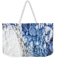 Weekender Tote Bag featuring the photograph White Water And Blue Ice Gullfoss Waterfall Iceland by Matthias Hauser