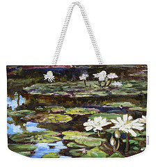 White Waterlilies In Tower Grove Park Weekender Tote Bag by Irek Szelag