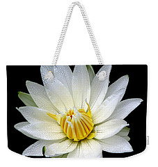 White Waterlily With Dewdrops Weekender Tote Bag by Rose Santuci-Sofranko
