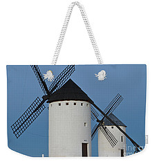 Weekender Tote Bag featuring the photograph White Windmills by Heiko Koehrer-Wagner