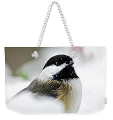 White Winter Chickadee Weekender Tote Bag by Christina Rollo