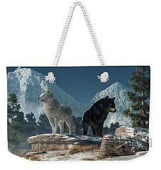 White Wolf, Black Wolf Weekender Tote Bag by Daniel Eskridge