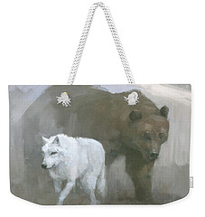 Weekender Tote Bag featuring the painting White Wolf, Brown Bear by Steve Mitchell