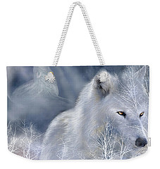 White Wolf Weekender Tote Bag by Carol Cavalaris