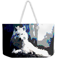 Weekender Tote Bag featuring the mixed media White Wolf by Charles Shoup