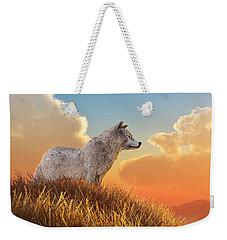 White Wolf Weekender Tote Bag by Daniel Eskridge