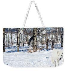 White Wolfdog Weekender Tote Bag