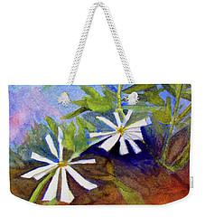 White Zinnias Weekender Tote Bag by Sandy McIntire