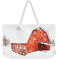 Weekender Tote Bag featuring the painting Whiteout On The Farm Blizzard Stella by Edward Fielding