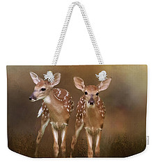 Whitetail Fawn Twins Weekender Tote Bag by TnBackroadsPhotos
