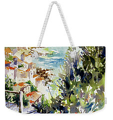 Weekender Tote Bag featuring the painting Whitewashed Vista by Rae Andrews