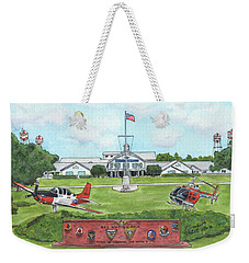 Weekender Tote Bag featuring the painting Whiting Field Welcome Sign by Betsy Hackett