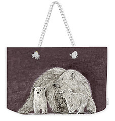 Weekender Tote Bag featuring the painting Polar Bear Family by Jack Pumphrey